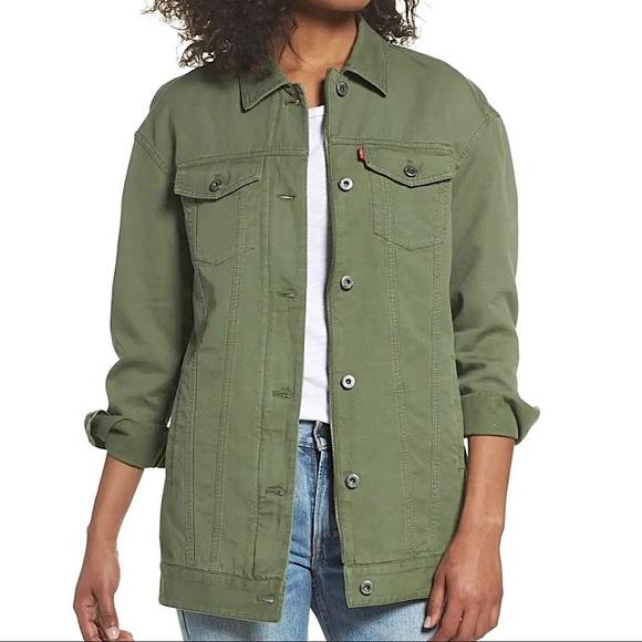 Levi's Oversized Long Trucker Jacket Army Green